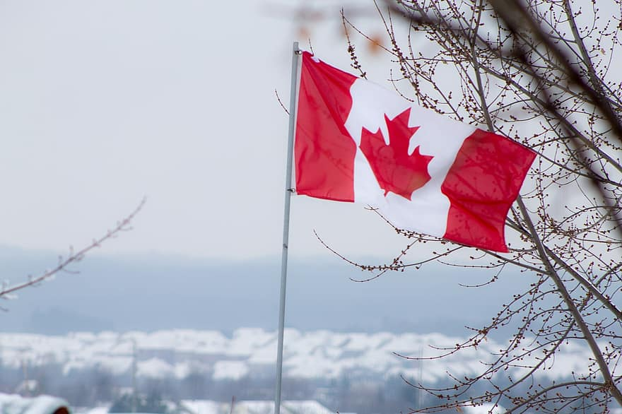 flag-canada-red-white-canadian-winter